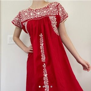 red embroidered flowy dress